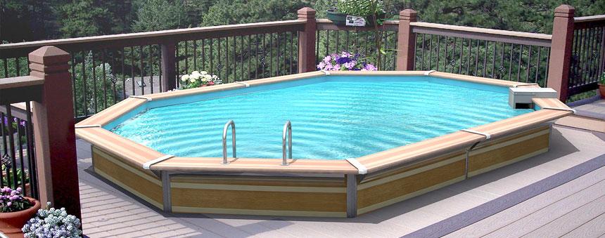 Piscinas de madera ait piscinas y jardines for Estructura para piscina